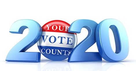"text graphic: ""2020"" with a button that says ""your vote counts"""