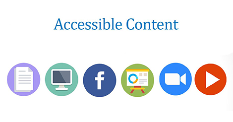 multiple content icons with text: Accessible Content