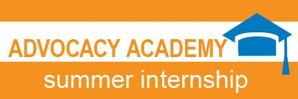 Advocacy Academy text graphic with graduation cap