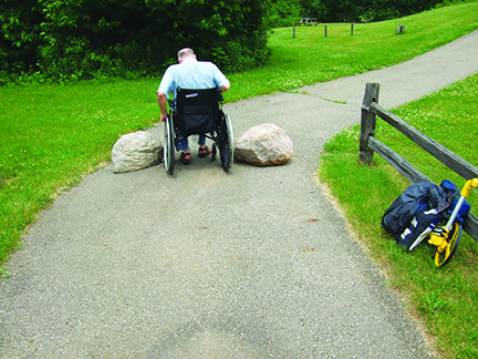 man in wheelchair not being able to pass between to boulders on park path