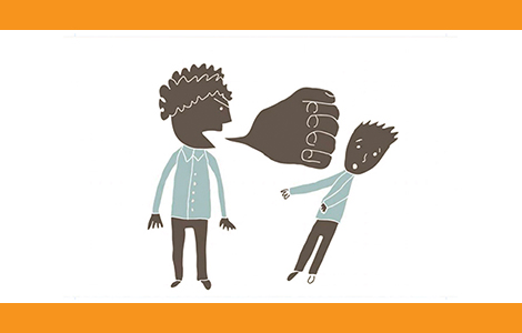 illustration of a person talking to another and the speech buble is a fist