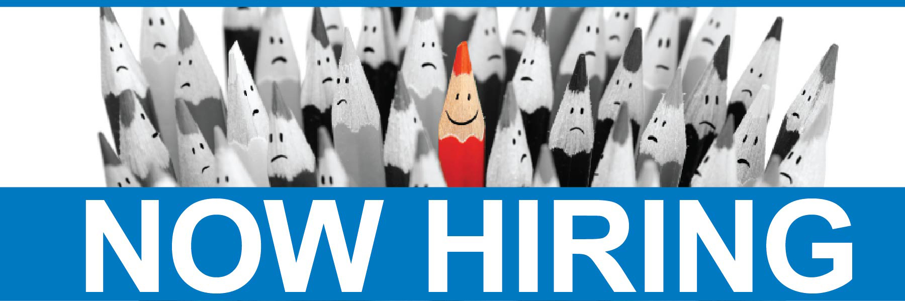 Now Hiring [group of gray pencils with one red pencil]