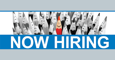 "one red pencil in a bunch of grey pencils ""Now Hiring"""