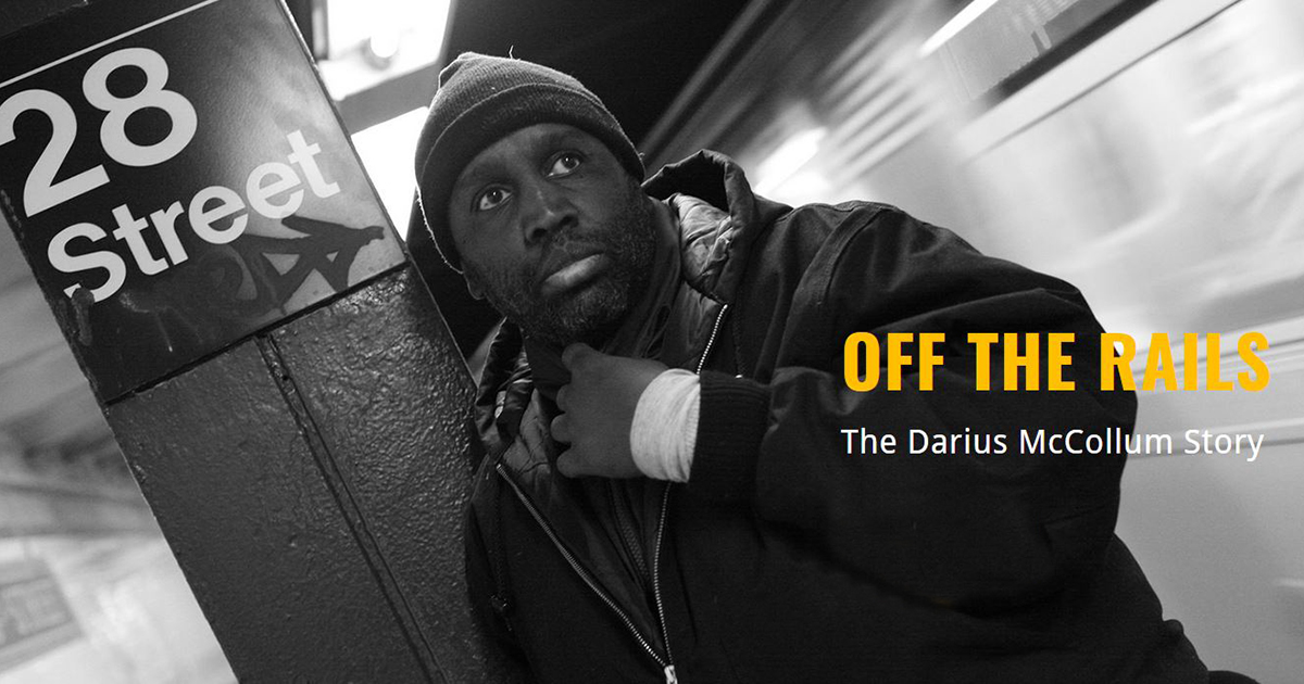 Black man in dark jacket and hat leaning against a subway sign. Text: Off the Rails: The Darius McCollum Story.