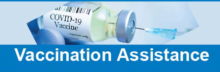 COVID vaccine bottle with text: Vaccination Assistance