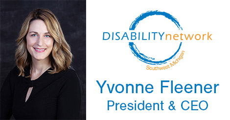 head shot of woman with blonde hair and light skin in a black shirt. Logo and text: Yvonne Fleener, President & CEO.