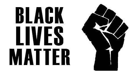 Black lives matter with image of fist