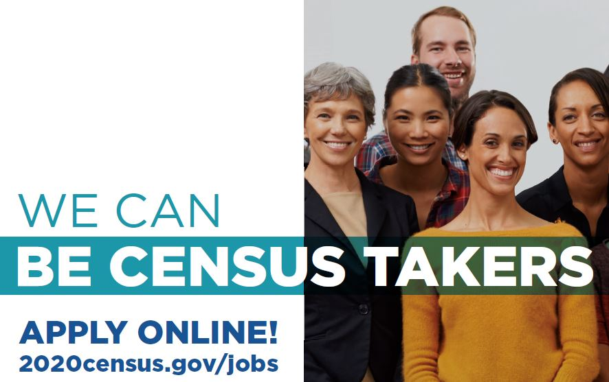 group of people posed. text: We can be census takers. Apply online: 2020census.gov/jobs