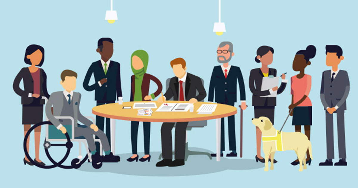 Illustration of a diverse group of business people including people with disabilities