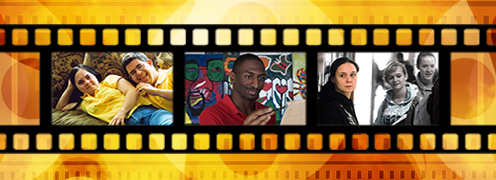 film strip with images from different movies on a colorful background.