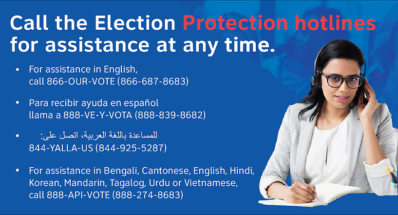 Hotline call info in various languages