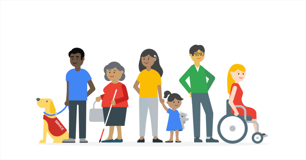 illustration of a line of people with and without disabilities