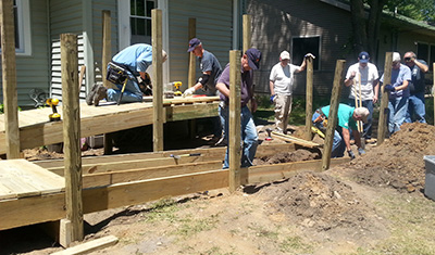 group building a ramp
