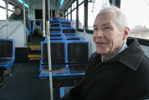 man on public bus