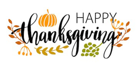 text graphic: Happy Thanksgiving
