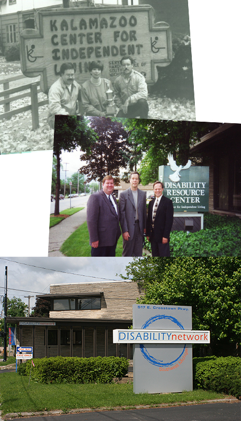 A collection of photos of signs with our various agency names over the years.