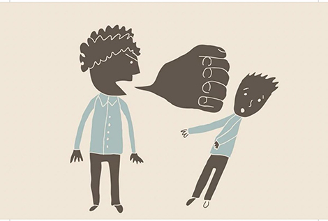 drawing of one person speaking to another, the words are a fist punching the other person.